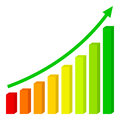 Three Dimensional Up Chart Flat Icon Stock Photos - 97410793