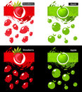 Set Template Icon Of Fruit, Strawberry And Apple Royalty Free Stock Photography - 97430597