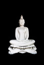 White Buddha Statue On Black Background With Clipping Path. Isol Stock Images - 97438434