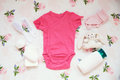 Baby Clothes And Necessities Fabric Background. Royalty Free Stock Image - 97455206