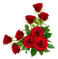 Red Rose Flowers With Leaves In A Corner Arrangement Royalty Free Stock Images - 97468709