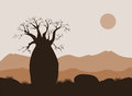 Baobab Tree Landscape With Mountains Background. Baobab Silhouette. African Sunrise Royalty Free Stock Photography - 97476617