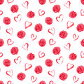 Watercolor Seamless Pattern With Red Roses And Hearts Stock Photo - 97484020