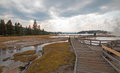 Boardwalk Next To Tangled Creek And Black Warrior Springs Leading Into Hot Lake In Yellowstone National Park In Wyoming USA Royalty Free Stock Photo - 97489855