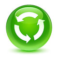 Refresh Icon Glassy Green Round Button Royalty Free Stock Photo - 97495115