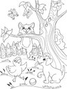 Childrens Coloring Cartoon Animals Friends In Nature. Duckling, Puppy And Kitten. Duck, Dog And Cat Stock Photos - 97500413