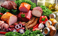 Variety Of Meat Products Including Ham And Sausages Stock Image - 97502081