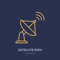 Satellite Dish Antenna Flat Line Icon. Wireless Technology Sign. Vector Illustration Of Interner Connection Royalty Free Stock Photos - 97508538