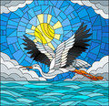 Stained Glass Illustration  Stork On The Background Of Sky, Sun , Clouds And Water Royalty Free Stock Photos - 97511318
