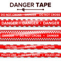 Danger Tape Vector. Red And White. Warning Tape Strips. Realistic Plastic Police Danger Tapes Set  Illustration Royalty Free Stock Image - 97518076