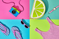 Film Camera. Fashion Summer Set. Pop Art Design Royalty Free Stock Photography - 97518287