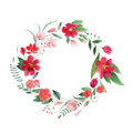 Delicate Floral Coronet Made Of Pink And Red Flowers And Leaves Hand-drawn With Watercolor Royalty Free Stock Image - 97524376