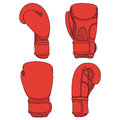 Set Of Illustrations With Red Boxing Gloves. Isolated Colorful Vector Objects. Stock Photography - 97527852