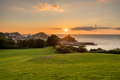 Sunset Over The Tourist Town Of Ilfracombe In Devon Royalty Free Stock Photo - 97533045