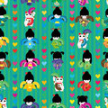Maneki Japanese Doll Fan Dance Symmetry Seamless Pattern Stock Image - 97536371