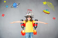 Kid With Jet Pack Playing At Home Royalty Free Stock Photography - 97552397