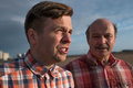 Portrait Of Happy Father And Son Walking Outdoors. Stock Image - 97552771