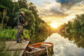 Sport Fisherman Hunting Fish. Outdoor Fishing In River Royalty Free Stock Images - 97555509