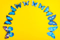 Blue Butterfly On Yellow Background Royalty Free Stock Photo - 97555775