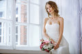 Brunette Bride In Fashion White Wedding Dress With Makeup Stock Images - 97562974