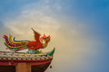 Soft Focus View Of Chinese Phoenix Statue On The Roof In Chinese Royalty Free Stock Photography - 97573647