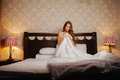 Naked Woman Covered By The Blanket On The Bed Stock Image - 97588861