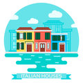 Vector Illustration Of An Italian Houses Near Water In Flat Style. Travel And Tourism Stock Image - 97622241