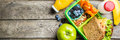 Healthy School Lunch Box Royalty Free Stock Image - 97622466