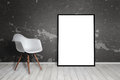 Empty Frame Leaning On Wall. Chair Beside Royalty Free Stock Photography - 97623317