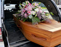 A Colorful Casket In A Hearse Or Church  Before Funeral Stock Image - 97637751
