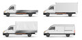 Set Of Realistic White Cargo Vehicles. Vector Illustration With Heavy Truck, Trailer, Lorry, Mini Bus, Delivery Van Stock Image - 97655571