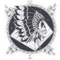 Vector Illustration Of A Template For A Tattoo With A Human Skull In An Indian Feather Hat. Royalty Free Stock Image - 97657056