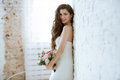 Brunette Bride In Fashion White Wedding Dress With Makeup Stock Photos - 97667993