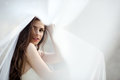 Brunette Bride In Fashion White Wedding Dress With Makeup Stock Images - 97668864
