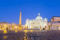 St. Peter`s Basilica Before Dawn. Rome, Italy Stock Image - 97669311