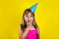 Studio Portrait Of A Little Girl Wearing A Party Hat On Her Birthday Stock Photos - 97686493