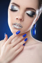 Glitter Eyeshadows Makeup. Manicure Nails. Fashion Glamour Girl Royalty Free Stock Photography - 97689267