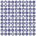 100 Sales Icons Hexagon Purple Royalty Free Stock Images - 97710139