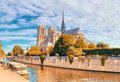 Notre Dame Cathedral In Paris On A Bright Day In Autumn Royalty Free Stock Images - 97712259