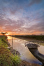 Beautiful Sunrise At Canal With Colorful Sky And Clouds Royalty Free Stock Photography - 97714497