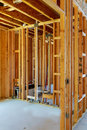 Unfinished Wood Frame Building Or House Stock Photo - 97717430