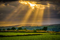 Summer Sunset With Sun Rays Through Clouds Royalty Free Stock Photos - 97720128