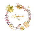 Set Of Red And Yellow Autumn Watercolor Leaves And Berries, Hand Drawn Design Foliage Elements Decoration. Royalty Free Stock Photo - 97761155