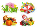 Four Seasons Concept, 3d Vector Set Stock Image - 97761481