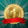 Gold Medal Vector. Golden 1st Place Badge. Metallic Winner Award. Red Ribbon. Olive Branch. Realistic Illustration. Stock Photography - 97793662