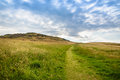 View Of Mountain And Grass With Blue Sky Stock Images - 97801424