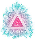 Abstract Floral Triangle In Zen-tangle Style Made By Trace In Blue Pink Stock Image - 97811391