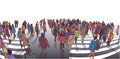 Illustration Of Busy Street Crossing In Perspective Stock Image - 97813671