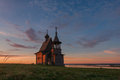 Traditional Russian Orthodox Wooden Church Chapel Of St.Nicholas On The Top Of Hill In The Vershinino Village At Sunrise. North Stock Photos - 97846463
