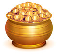 Gold Pot Full Of Gold Coins Stock Photography - 97875042